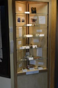 A display case houses artifacts found in archeological digs on campus.